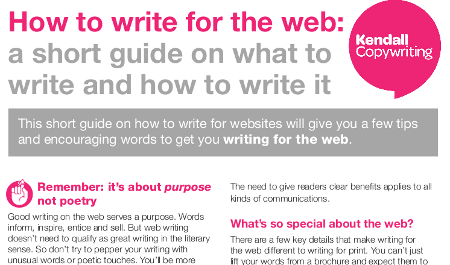 How to write for the web - screenshot of PDF